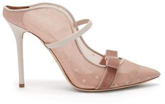Malone Souliers Marguerite Luwolt Velvet Bow Mesh Mules - Womens - Light Pink