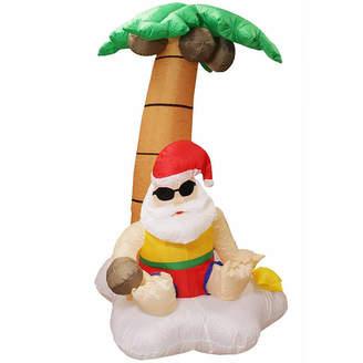 Asstd National Brand 5.5' Inflatable Santa Claus & Palm Tree Tropical Lighted Yard Art