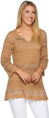 Laurie Felt Split V Neck 3/4 Sleeve Crochet Tunic