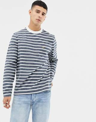 Farah Melis Stripe Long Sleeve Top in Navy