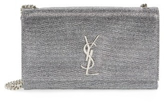 Saint Laurent Medium Kate Metallic Shoulder Bag - White $1,990 thestylecure.com