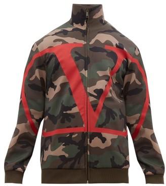 Valentino Go Logo And Camouflage Printed Jacket - Mens - Khaki