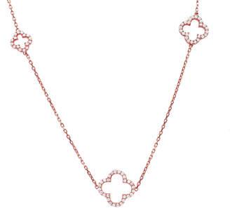 Rosegold Latelita - Long Open Clover White Cz Necklace