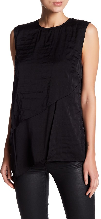 DKNY DKNY Layered Quilted Silk Blend Tank