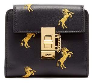 Chloé - Drew Horse Embroidered Leather Wallet - Womens - Navy Multi