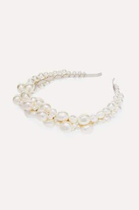 Simone Rocha Silver-tone Faux Pearl Headband - White
