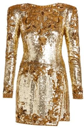 Dundas Sequinned Silk Mini Dress - Womens - Gold