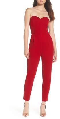 Adelyn Rae Hayden Strapless Velvet Jumpsuit