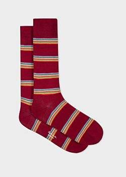 93cfef2e8 Men's Burgundy Multi-Coloured Block Stripe Socks
