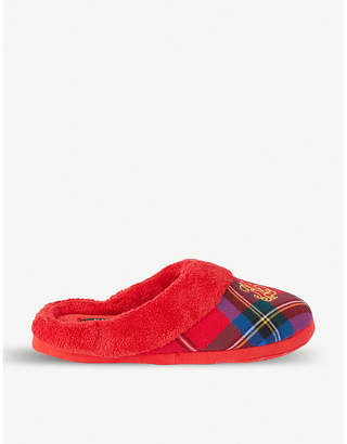 Ralph Lauren Embroidered logo plaid cotton slippers