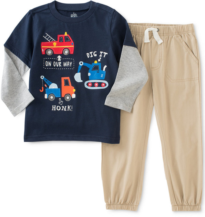 Kids Headquarters Baby Boys' 2-Pc. Layered-Look T-Shirt & Pants Set
