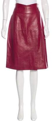 Oscar de la Renta Leather Knee-Length Skirt