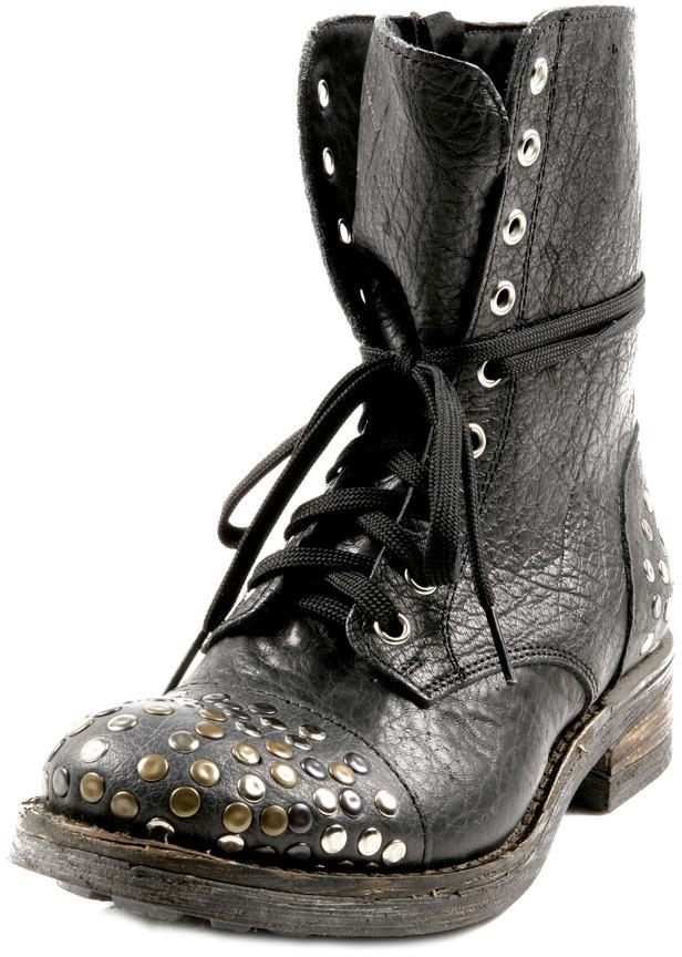 L'ESTROSA Leather Stud Laced Booties