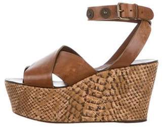 Lanvin Leather Wedge Sandals Brown Leather Wedge Sandals