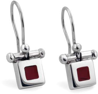 Jan D. - Small Red Resin Square Earrings