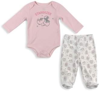 Disney Baby Girl's 2-Piece Cotton Bodysuit Footed Pants Set