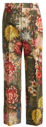 Gucci Impressionist Garden Print Wool Trousers - Womens - Multi