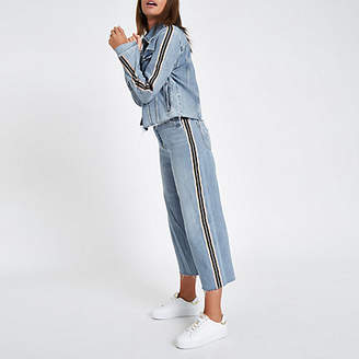 River Island Light blue tape side Alexa denim culottes