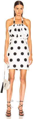 MSGM Macro Polka Dot Printed Dress in Black & White | FWRD