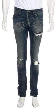 John Galliano Distressed Printed Skinny Jeans