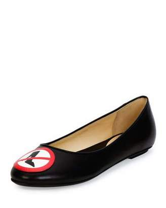 Moschino No Heels Leather Ballet Flats, Black