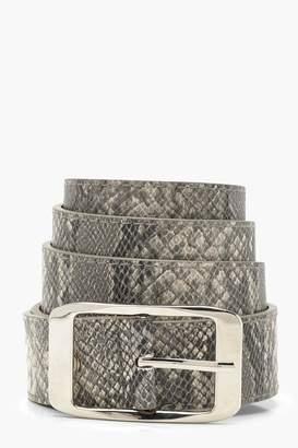boohoo Plus Snake Print Boyfriend Belt