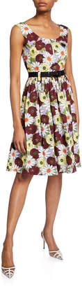 Prada Floral-Print Sleeveless Dress with Belt