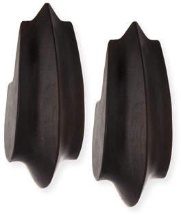 Viktoria Hayman Wooden Acorn Statement Earrings, Dark Brown