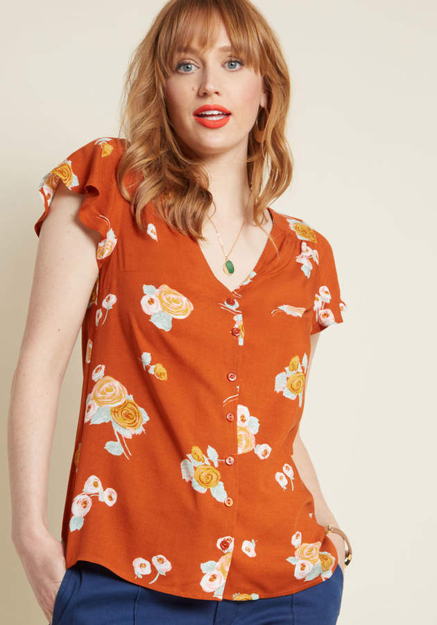 Motivating Ways Button-Up Top in Orange Floral in XXS - Mid-length