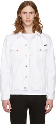 Nudie Jeans White Billy Worn Denim Jacket $250 thestylecure.com