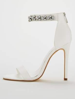 58f2c912e613 Very Bae Jewel Ankle Strap High Minimal Sandal - White