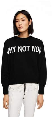 MANGO Black Embroidered 'Whynot' Long Sleeve Sweater