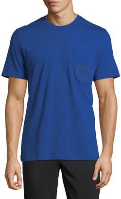 Versace Men's Logo-Embroidered Pocket T-Shirt, Blue