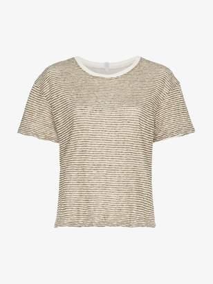 Lot 78 Lot78 stripe short sleeve cotton linen blend t-shirt