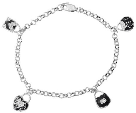 Journee Collection Tressa Collection Cubic Zirconia Charm Bracelet in Sterling Silver