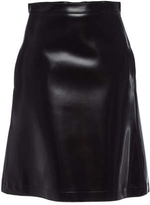 Jil Sander Navy Faux Leather Skirt