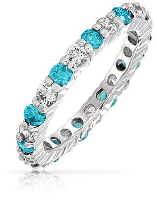 Bling Jewelry 925 Silver Simulated Topaz CZ Eternity Ring