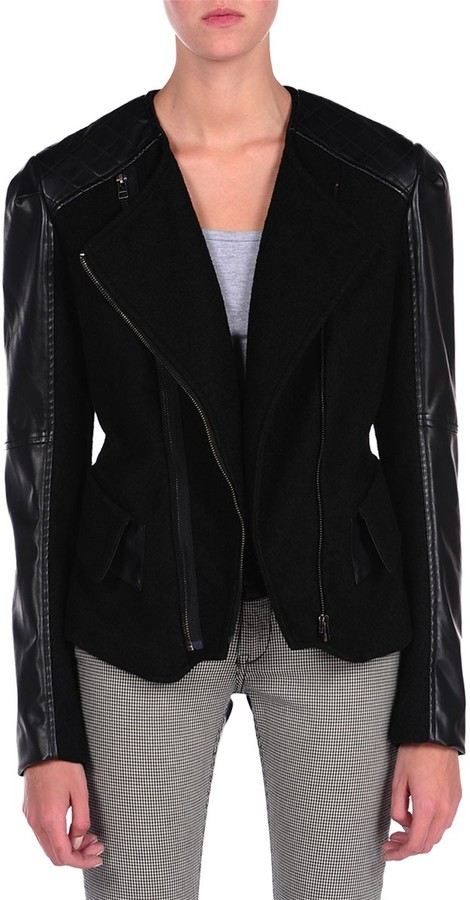Blank NYC Vegan Leather and Wool Jacket