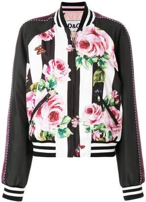 Dolce & Gabbana floral stripe bomber jacket