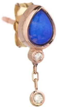 Celine Daoust Opal Diamond Teardrop Drop Chain Single Earring - Rose Gold