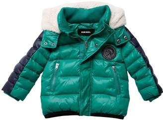 Diesel Hooded Color Block Nylon Puffer Jacket