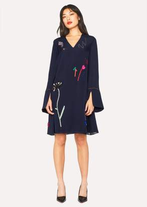 Women's Navy Silk-Blend V-Neck Dress With Ribbon Applique