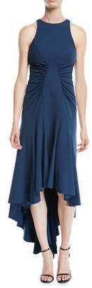 Halston High-Low Halter Dress w/ Ruched Details