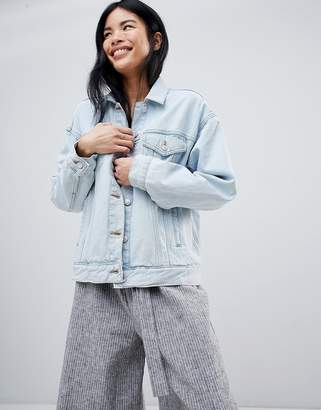 Pull&Bear Oversized Denim Jacket With Pocket Detail In Blue