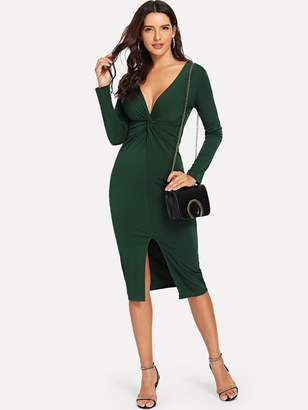 Shein Twist Plunge Neckline Slit Midi Dress