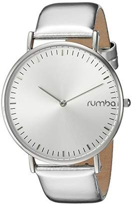 RumbaTime Women's 'SoHo Metallic Silver' Quartz Metal and Leather Watch, Color Silver-Toned (Model: 26061)