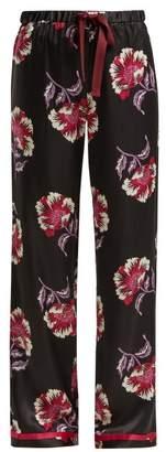 Morgan Lane - Chantal Floral Print Pyjama Bottoms - Womens - Black Pink