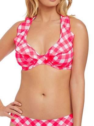 43bb5ec133ef4 Freya Womens Totally Check Underwire High Apex Bikini Top