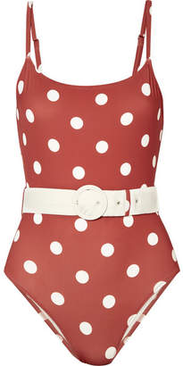 Solid & Striped The Nina Belted Polka-dot Swimsuit