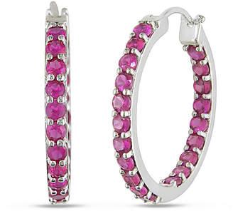 JCPenney FINE JEWELRY Lab-Created Ruby Sterling Silver Inside-Out Hoop Earrings